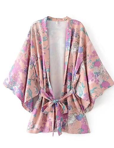 Silke Bomull Tynn Medium Langermet,Grime T-skjorte Blomstret Sommer Høst Enkel Aktiv Ut på byen Fritid/hverdag Dame