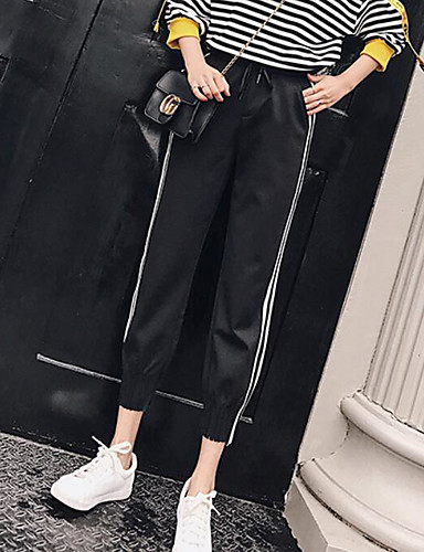 Women's Mid Rise Micro-elastic Active Pants,Simple Relaxed Color Block