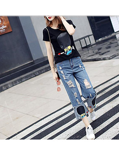 Women's Daily Formal Artistic Spring Summer T-shirt Pant Suits,Solid Crew Neck Short Sleeve Lace Micro-elastic
