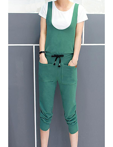 Women's Daily Casual Summer T-shirt Pant Suits,Solid Color Block Round Neck Short Sleeve Cotton