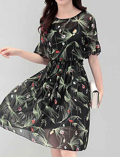 Women's Daily Loose Dress,Print Round Neck Midi Knee-length Short Sleeves Polyester Summer Mid Rise Micro-elastic Thin