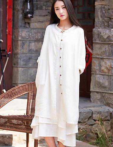 Women's Daily Modern/Comtemporary Spring/Fall Trench Coat,Solid Round Neck Long Sleeve Maxi Cotton Linen