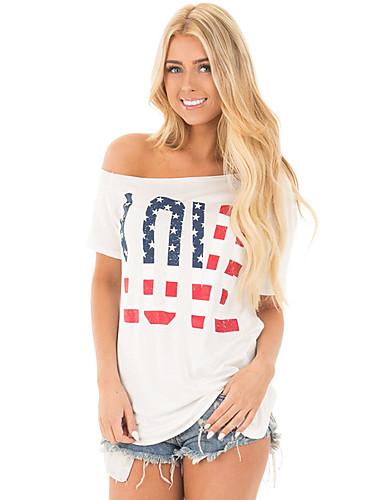 Women's Polyester Spandex T-shirt - Letter