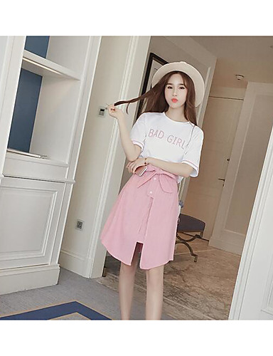 Women's Casual Casual Summer T-shirt Skirt Suits,Letter Round Neck Short Sleeve Cotton/nylon with a hint of stretch Micro-elastic