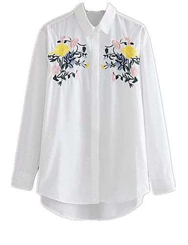 Women's Going out Casual/Daily Street chic Fall Shirt,Embroidery Shirt Collar Long Sleeves Cotton Medium