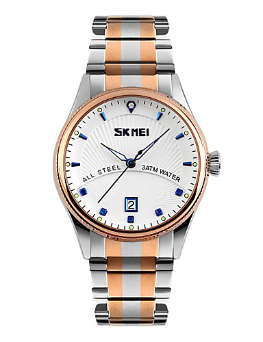 SKMEI Men's Wrist Watch Japanese Calendar / date / day / Water Resistant / Water Proof / Cool Stainless Steel Band Dress Watch Multi-Colored