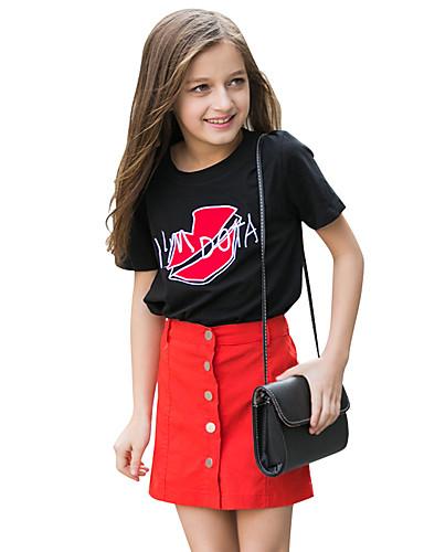 Tyttöjen Kirjailtu T-paita Puuvilla Kesä Lyhythihainen Normaali