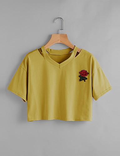 abordables Camisas y Camisetas para Mujer-Mujer Noche Estilo artístico / Corazón / Clásico - Algodón Camiseta, Escote en Pico Un Color / Bordado Amarillo M / Verano / Cortado