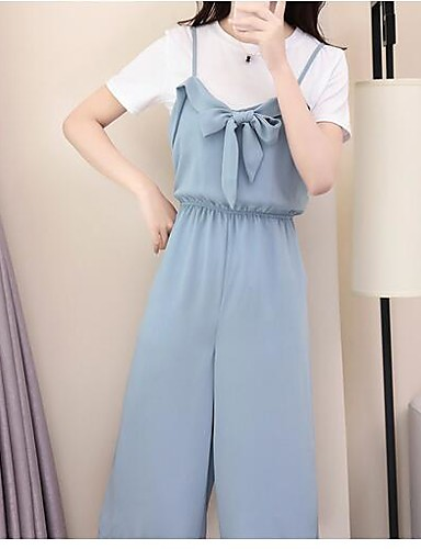 Women's Other Casual Casual Summer T-shirt Pant Suits,Solid Round Neck Short Sleeve Organic Cotton Micro-elastic