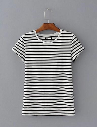 Bomull Tynn Medium Kortermet,Rund hals T-skjorte Stripet Vår Høst Sexy Enkel Gatemote Ut på byen Fritid/hverdag Dame