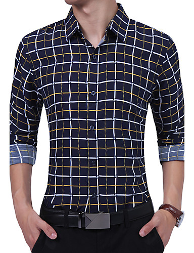 Men's Daily Work Plus Size Vintage Casual All Seasons Shirt,Striped Geometric Color Block Shirt Collar Long Sleeves Cotton Rayon Thin