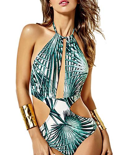 Women's Floral Floral Halter Monokini Swimwear Green