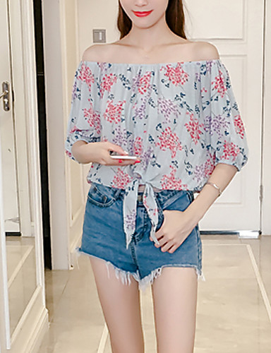 Women's Daily Going out Beach Sexy Summer Fall Blouse,Floral Boat Neck Short Sleeves Polyester Medium