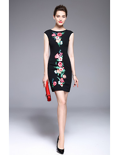 MARCOBOR Women's Party Going out Vintage Street chic A Line Sheath Dress,Embroidered Round Neck Above Knee Sleeveless Polyester Summer Mid Rise