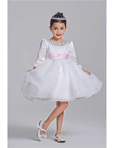 Princess Knee Length Flower Girl Dress - Polyester 100%Cotton 3/4 Length Sleeves Jewel Neck