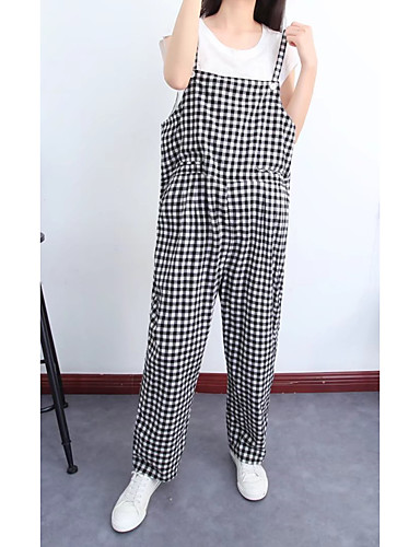 Women's Mid Rise Micro-elastic Loose Overalls Pants,Street chic Check Cotton Spring Summer Fall