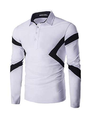 Men's Daily Street chic T-shirt,Striped Shirt Collar Long Sleeves Polyester
