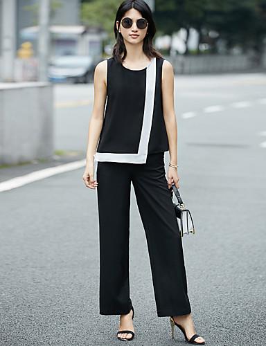 Feminino Japonesa/Curta Calça Conjuntos Diário Casual Moderna Verão,Estampa Colorida Decote Redondo Sem Manga