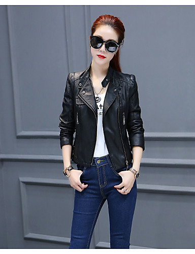 Women's Daily Punk & Gothic Fall Leather Jacket