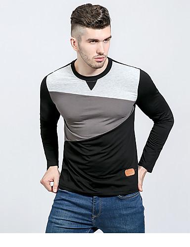 Herren Einfarbig Einfach Lässig/Alltäglich T-shirt,Rundhalsausschnitt Langarm Baumwolle