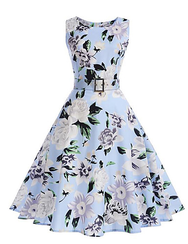 Women's Going out Vintage / Street chic Swing Dress - Floral Pleated / Print High Rise / Summer / Floral Patterns
