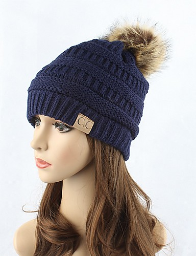 9955effe3bee2 Women s Headwear Chic   Modern Knitwear Cotton Beanie   Slouchy Floppy Hat-Solid  Colored Pure Color Fashion Fall Winter Red Navy Blue Gray   Cute