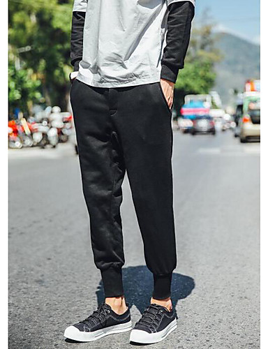 Men's Mid Rise Micro-elastic Loose Active Pants,Active Loose Active Solid
