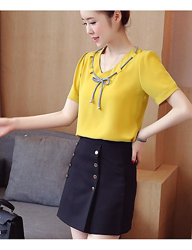 Women's Daily Casual Summer Blouse Skirt Suits,Solid Cowl Short Sleeve Fiber 100% Cotton