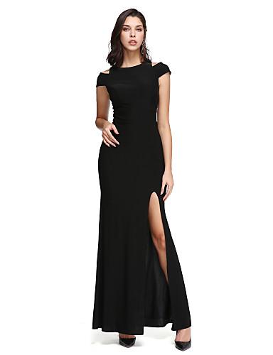 billige Feriekjoler-Tube / kolonne Løse skuldre Ankellang Jersey Liten svart kjole Cocktailfest / Skoleball / Formell kveld Kjole med Delt front av TS Couture®