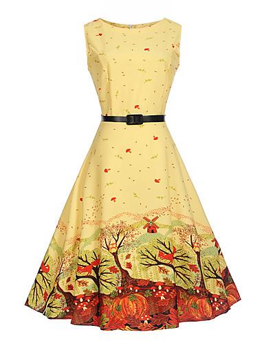 עד הברך דפוס, עצים / עלים - שמלה גזרת A כותנה וינטאג' חגים עבודה בגדי ריקוד נשים