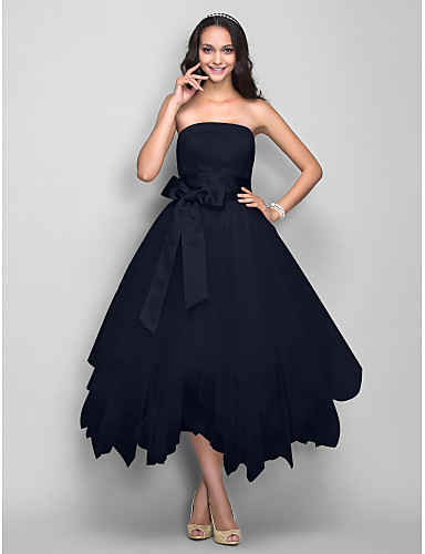 51dbcdd4e0d Ball Gown Strapless Tea Length Satin   Tulle Cocktail Party   Prom Dress  with Bow(s)   Sash   Ribbon by TS Couture®