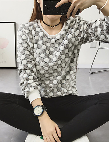 Women's Daily Sweatshirt Print Round Neck Micro-elastic Spandex Long Sleeve Winter