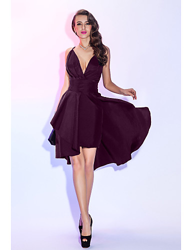 cheap Prom Dresses-A-Line Plunging Neck Asymmetrical Taffeta Little Black Dress / Two Piece Cocktail Party / Prom Dress with Ruched / Pleats by TS Couture®