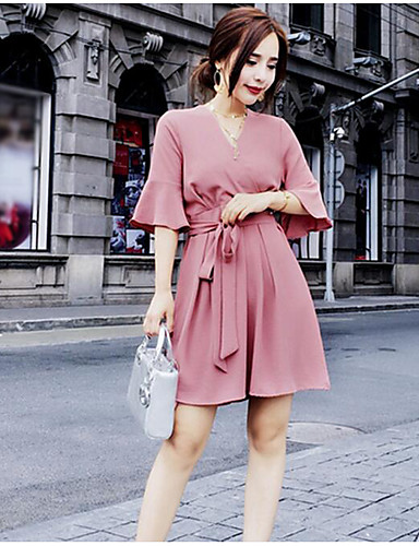 Women's Going out Vintage Chiffon Dress,Solid V Neck Above Knee Half Sleeves Polyester Summer High Rise Inelastic Medium