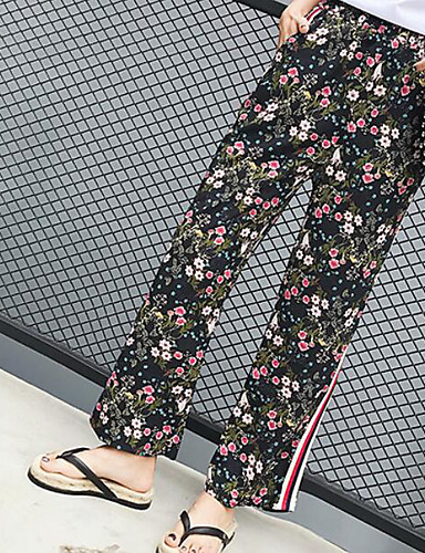 Women's High Rise Inelastic Chinos Pants,Vintage Wide Leg Floral