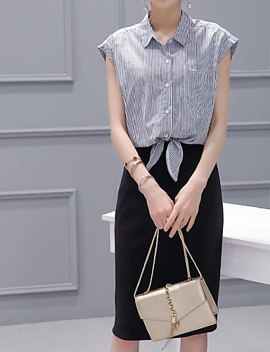 Women's Daily Casual Summer Shirt Skirt Suits,Solid Striped Color Block Shirt Collar Short Sleeve Cotton