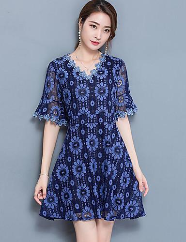 Women's Simple A Line Dress Print V Neck / Summer