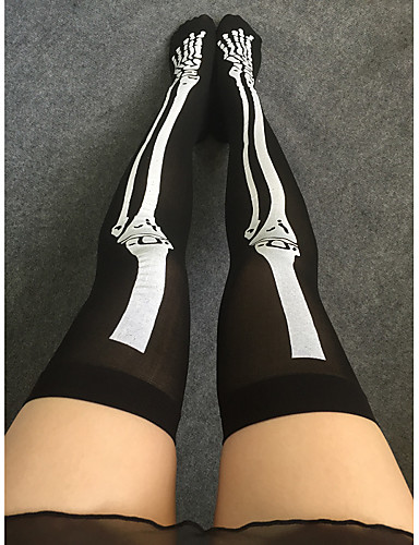 Women's Hosiery Thin Stockings Print 1set Black