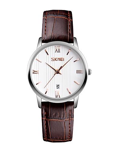 SKMEI Mulheres Relógio de Pulso Relógio Elegante Relógio de Moda Japanês Quartzo Calendário Impermeável Couro Banda Legal Preta Marrom