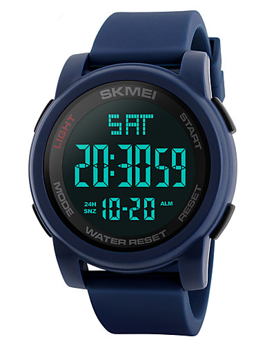 SKMEI Men's Sport Watch / Military Watch / Wrist Watch Japanese Alarm / Calendar / date / day / Chronograph PU Band Fashion Black / Blue / Green / Water Resistant / Water Proof / Dual Time Zones