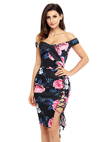 Women's Holiday Going out Club Sexy Bodycon Dress,Floral Boat Neck Midi Short Sleeve Polyester Spandex Summer High Rise Stretchy Medium