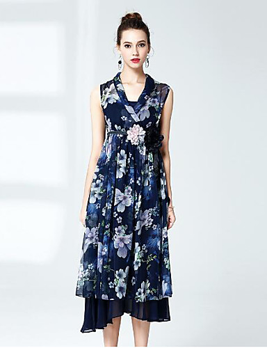 Women's Going out Sophisticated Loose Dress,Floral V Neck Midi Sleeveless Polyester Summer Mid Rise Micro-elastic Medium