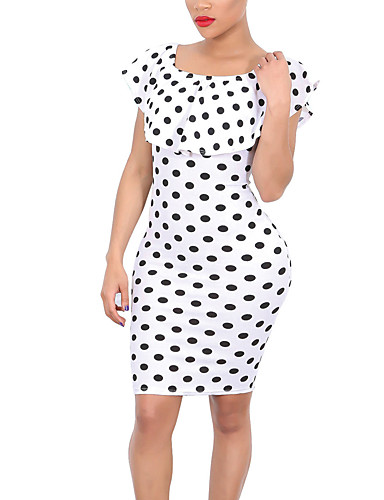 Women's Vintage Casual Sexy Bodycon Dress,Polka Dot Round Neck Above Knee Short Sleeves Polyester Spring Summer Mid Rise Micro-elastic