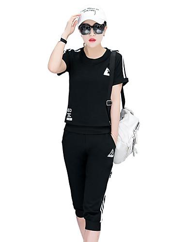 Moderne Stil Posebukser 1/2 erme,Rund hals T-skjorte Bukse Drakter Ensfarget Sommer Fritid Sport Dame