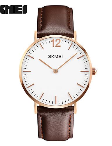 SKMEI Homens Relógio de Moda / Relógio de Pulso Venda imperdível Couro Legitimo Banda Amuleto Preta / Marrom