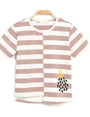 Boys' Stripe Solid Tee,Cotton Summer Short Sleeve Regular