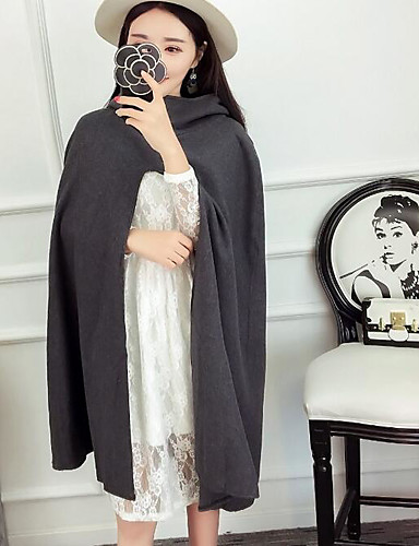 Women's Daily Going out Casual Spring Fall Cloak/Capes,Solid Shawl Lapel Sleeveless Long Polyester