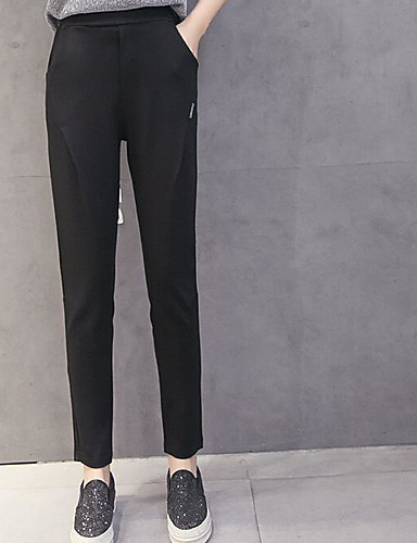 Women's Mid Rise Micro-elastic Bootcut Business Pants,Simple Relaxed Solid