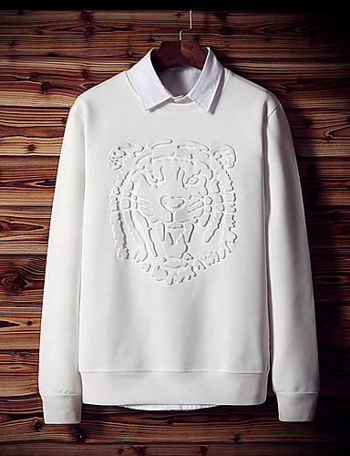 Men's Daily Casual Sweatshirt Solid Round Neck Micro-elastic Polyester Long Sleeve Winter Fall