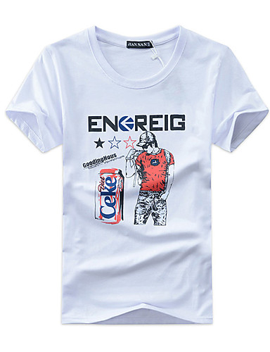 Homens Tamanhos Grandes Camiseta Activo Fashion Estampado Algodão Decote Redondo
